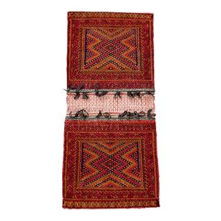 "Antique Balochistan Wool Tribal Saddlebag Rug - 1'8"" x 3'8"""