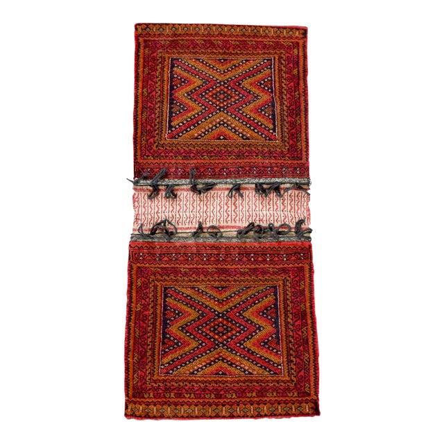 "Antique Balochistan Wool Tribal Saddlebag Rug - 1'8"" x 3'8"" For Sale"