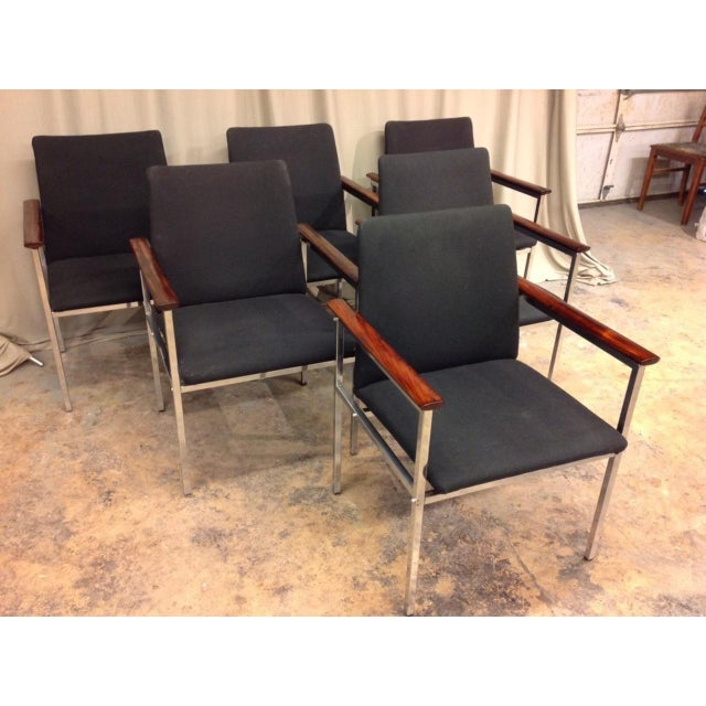 Metal French Mid-Century Arm Chairs - Set of 6 For Sale - Image 7 of 8