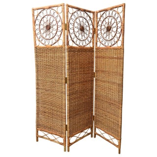 Vintage Three-Panel Rush Bamboo Screen For Sale
