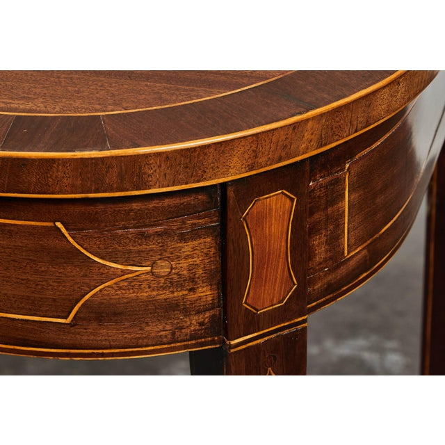 Wood 19th Century English Mahogany Inlaid Console Table For Sale - Image 7 of 9