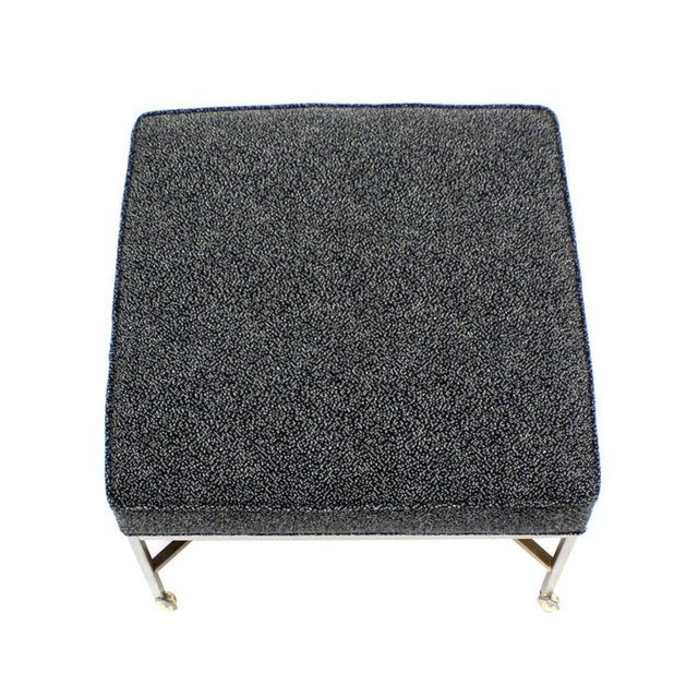 Mid-Century Modern Large Solid Brass X Base Ottoman New Upholstery For Sale - Image 3 of 5