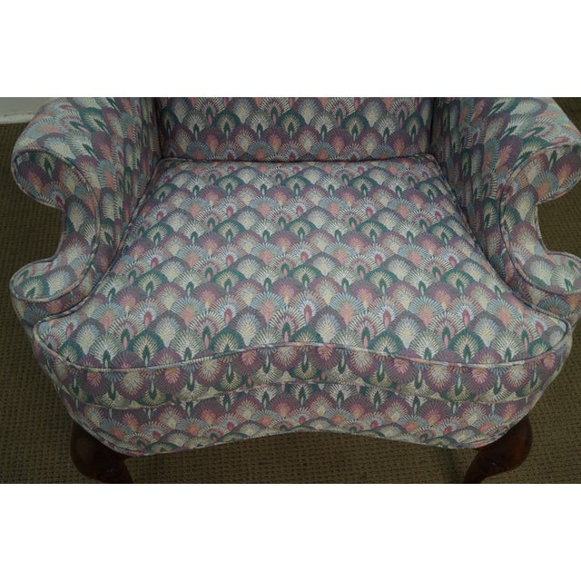 Solid Mahogany Queen Anne Wing Chair by Southwood For Sale - Image 10 of 10