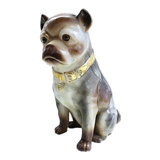 Antique Life Sized Staffordshire Pug - C. 1880 For Sale