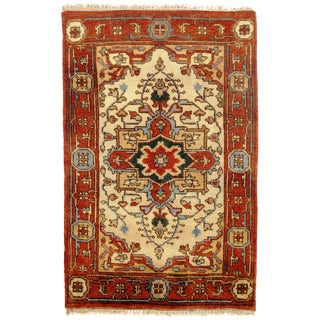 "Traditional Pasargad N Y Fine Serapi Design Hand-Knotted Rug - 2'7"" X 3'11"""