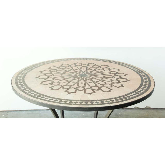 Beige Moroccan Mosaic Outdoor Tile Table in Fez Moorish Design For Sale - Image 8 of 11
