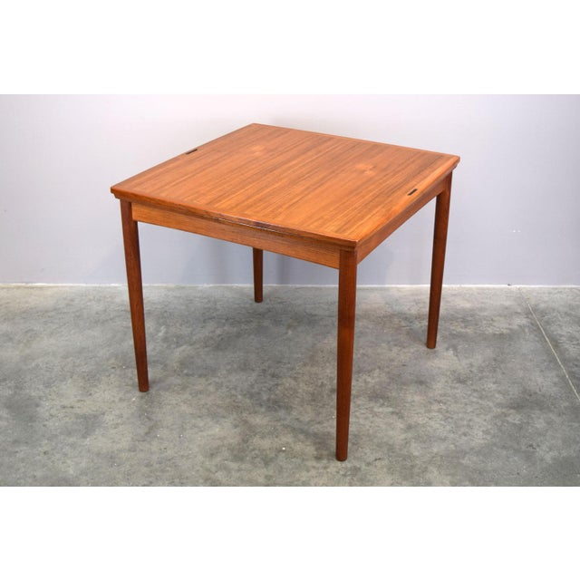 Carlo Jensen Carlo Jensen Expanding Small Danish Teak Dining Table or Game Table For Sale - Image 4 of 13