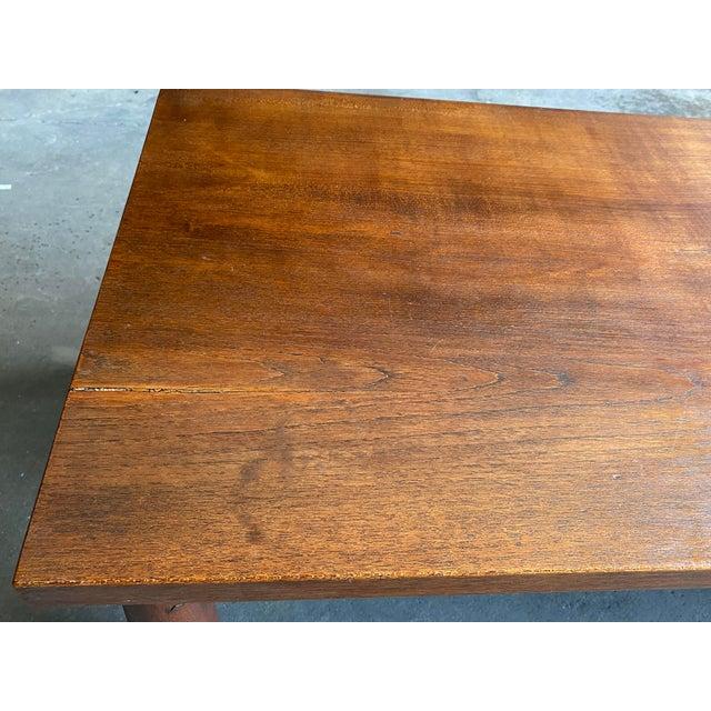 Mid Century Solid Teak Bench For Sale In Philadelphia - Image 6 of 11