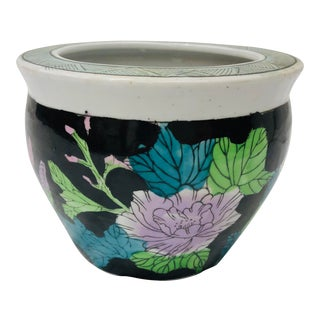 Vintage Floral Jardiniere Cache Pot For Sale