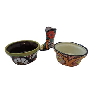 Small Mexican Ceramic Planters - Set of 3