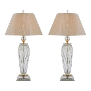 Sublime Pair of Restored Blown Murano Tornado Lamps For Sale