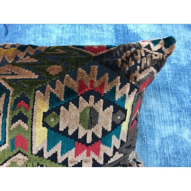 Art Deco-Style Tribal Velvet Pillow - Image 3 of 7