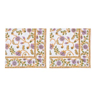 Gina Napkins, Lilac & Green - A Pair For Sale