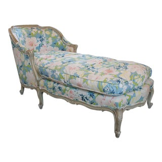Floral Upholstered Chaise For Sale