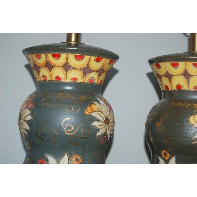 Vintage Italian Ceramic Deruta Hand Painted Lamps For Sale - Image 9 of 11