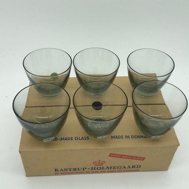 Mid Century Danish Modern Kastrup-Holmegaard Smoke Copenhagen No. 4 Cocktail Glass Set in Box For Sale In Philadelphia - Image 6 of 11