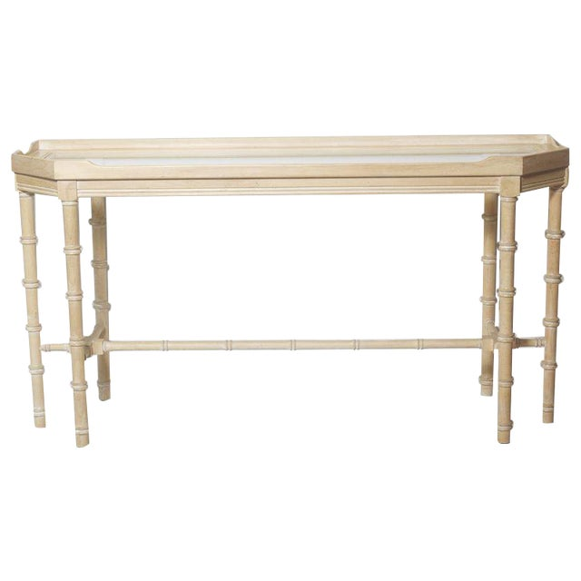 Faux Bamboo Console With Beveled Glass Top For Sale