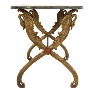 Outdoor Victorian Marble Top Center Table For Sale