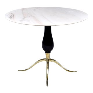 Italian Marble Top Center Table With Walnut Support and Brass Footed Base For Sale