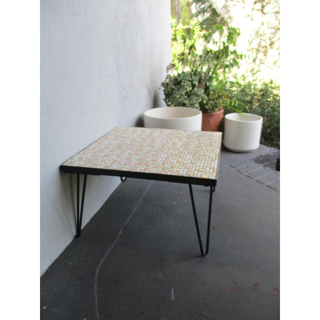Mosaic Mid-Century Modern Orange and White Coffee Table Patio Furniture - Image 5 of 11