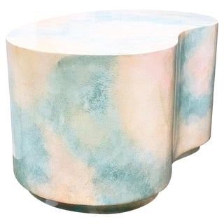 Modern Plaster Plinth Gloss Sky-Scape Kidney End Table Karl Springer Style For Sale