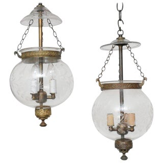 Late 19th Century English, Blown Glass Globes With Vine Etching - a Pair For Sale
