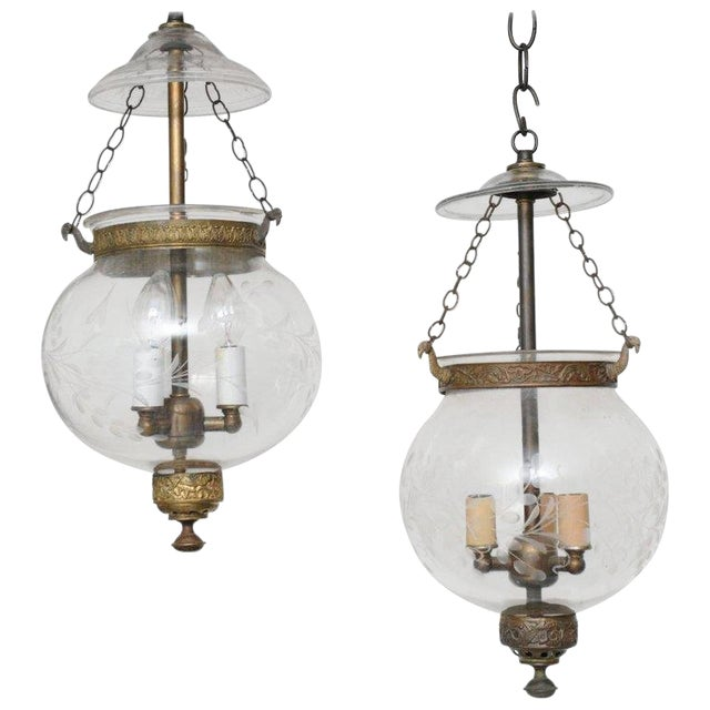 Pair of Late 19th Century English, Blown Glass Globes With Vine Etching For Sale