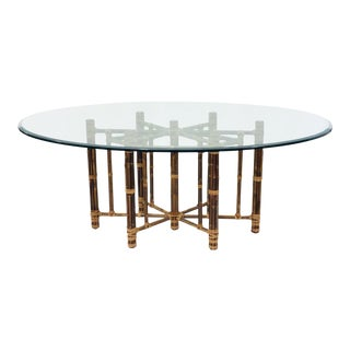 Vintage Bamboo & Glass Table by MCGUIRE