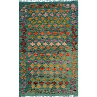 Contemporary Kilim Arya Tennie Green/Ivory Wool Rug (2'9 X 4'1)