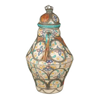Antique Moroccan Ceramic Jar With Lid For Sale
