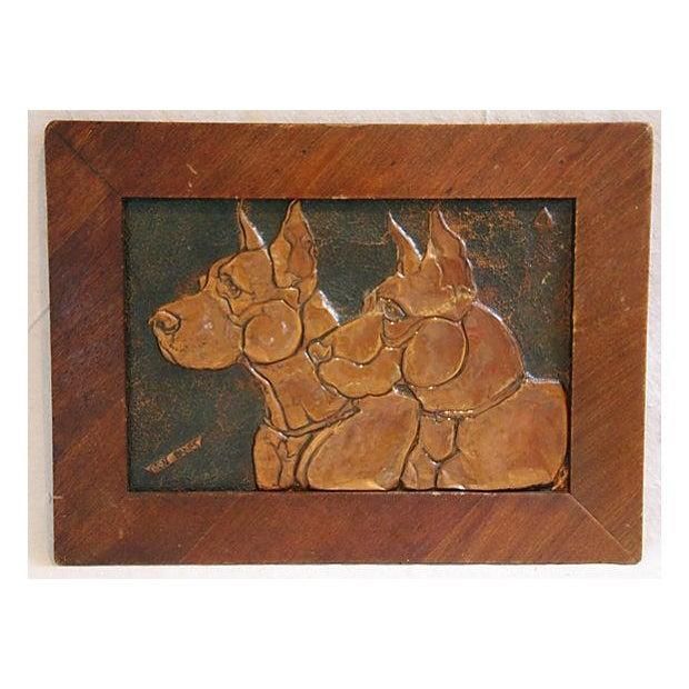 Mid-Century Copper Great Dane Dog Plaque - Image 3 of 4