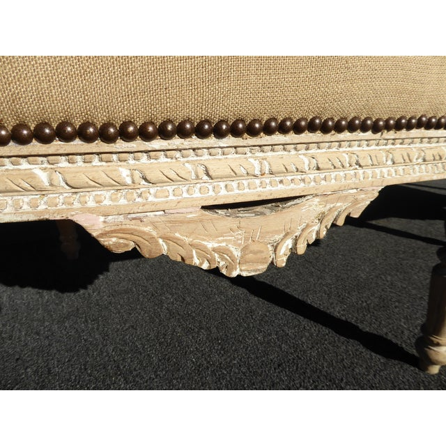 Wood French Provincial Burlap & Carved Wood Settee For Sale - Image 7 of 10