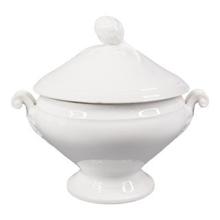 Antique French White Ironstone Soup Tureen For Sale
