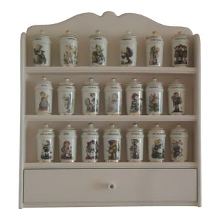 1987 Danbury Mint m.j. Hummel Spice Jars & Rack - 21 Pieces For Sale