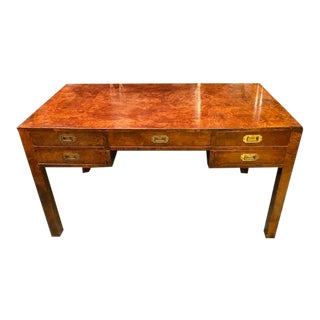 Vintage Fully Burl Campaign Writing Desk For Sale