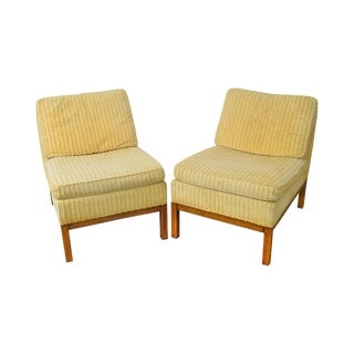 Edward Wormley Dunbar Style Mid Century Modern Pair of Slipper Chairs For Sale