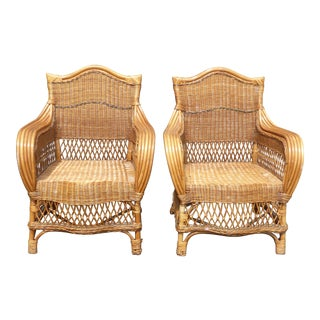 Tiki Palm Beach Style Ornate Rattan Accent Arm Chairs - A Pair