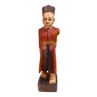 Chinese Hand Carved Antique Chinoiserie Wood Painted Man Figure For Sale