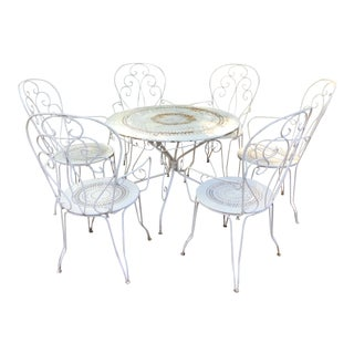 French 1950's White Iron Outdoor Dining Set For Sale