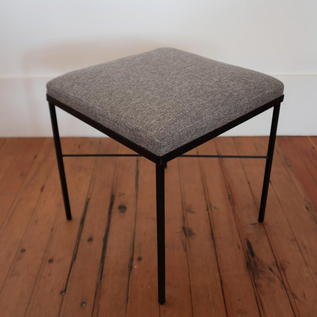 Metal Pair of Iron X-Base Ottomans, 1950s For Sale - Image 7 of 8