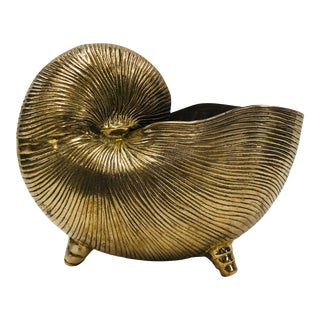 Late 20th Century Brass Nautilus Shell Cache Pot For Sale