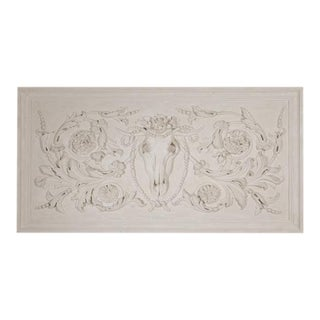 Large Plaster Panel with Ox Skull and Mask Detail For Sale