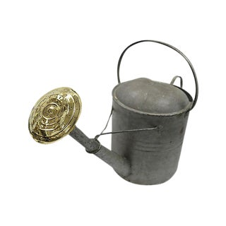 Vintage Large English Galvanized Watering Can For Sale