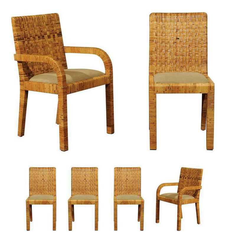 Stellar Set Of Six Rattan Wrapped Dining Chairs In The Style Of Billy  Baldwin 9878?aspectu003dfitu0026heightu003d1600u0026widthu003d1600