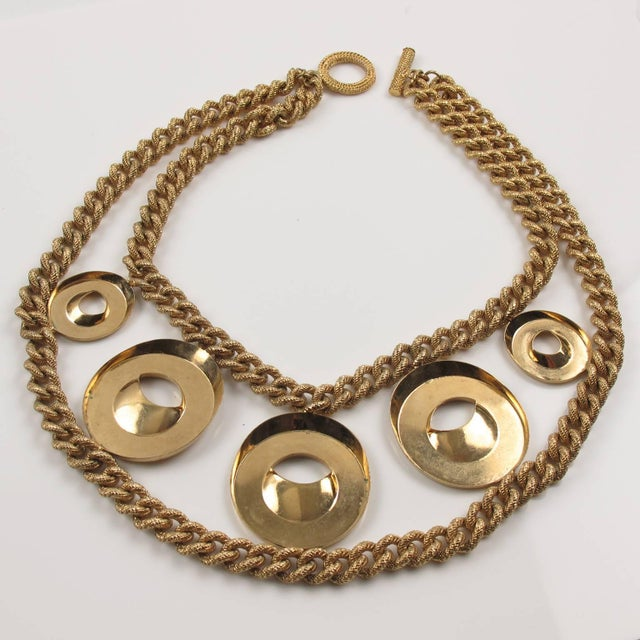 Julie Borgeaud for Imai Large Gilt Metal Geometric Choker Necklace For Sale - Image 9 of 10