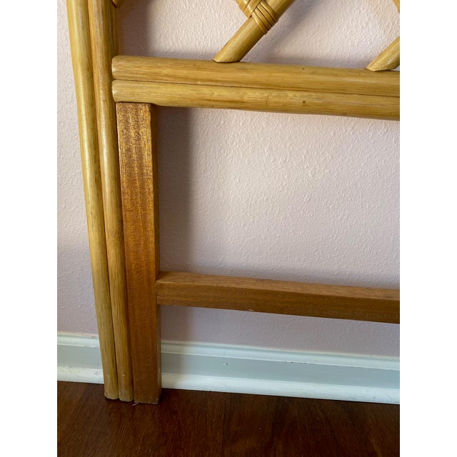 1980s Vintage Chippendale Styled Rattan Twin Headboards - a Pair For Sale - Image 5 of 8