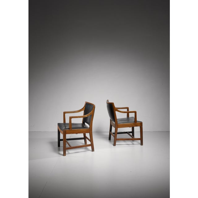 Mid-Century Modern Pair of Kay Fisker attributed Danish armchairs, 1940s/50s For Sale - Image 3 of 7