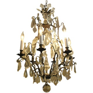 19th Century French Bronze & Glass Patinated Chandelier For Sale
