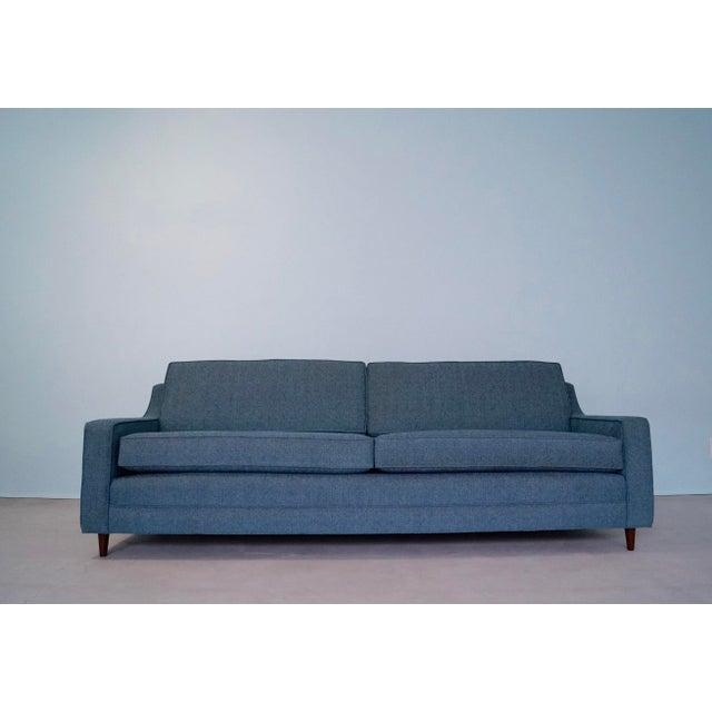 Original Mid-Century Modern Reupholstered Tweed Sofa - Image 11 of 11
