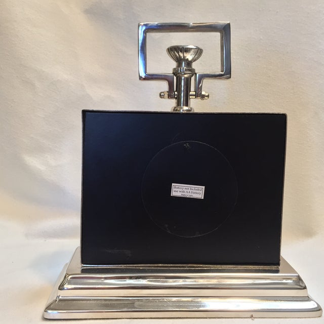 2010s Black Rectangular Chrome Mantle Clock For Sale - Image 5 of 6